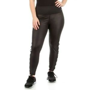 Bebe Sport Logo Lattice Side Women Black Leggings